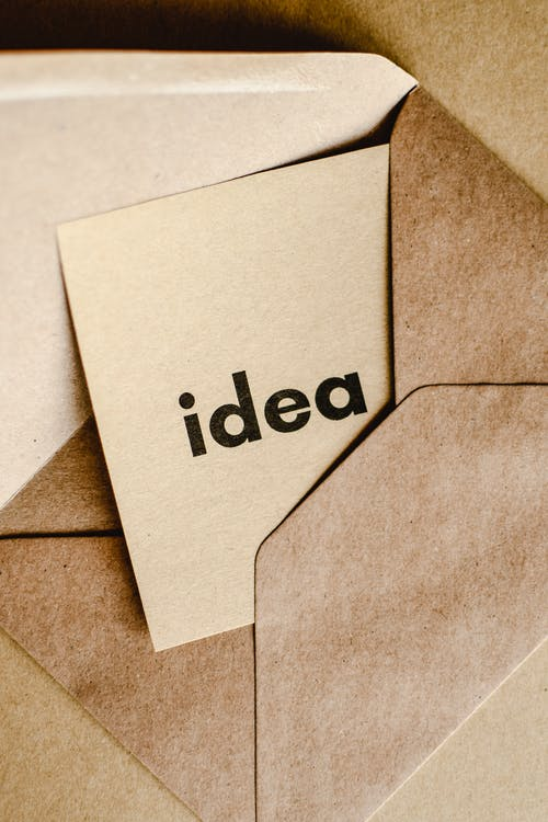 Close-Up Shot of an Idea Text on a Brown Envelope