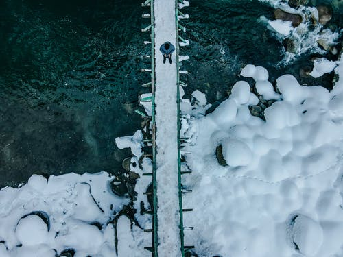 Person Standing On A Snow Covered Bridge Above A Body Of Water With Snow