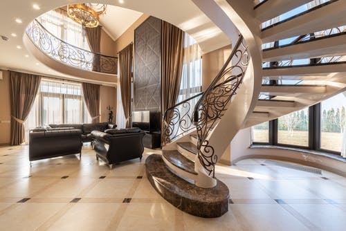 Interior of luxury house with staircase