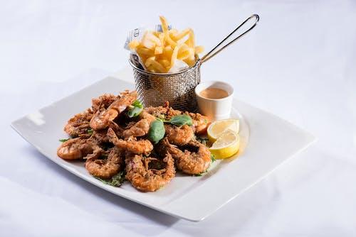 Savory Fried Shrimps on a Ceramic Plate