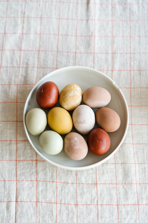 Colorful Easter Eggs on Ceramic Plate