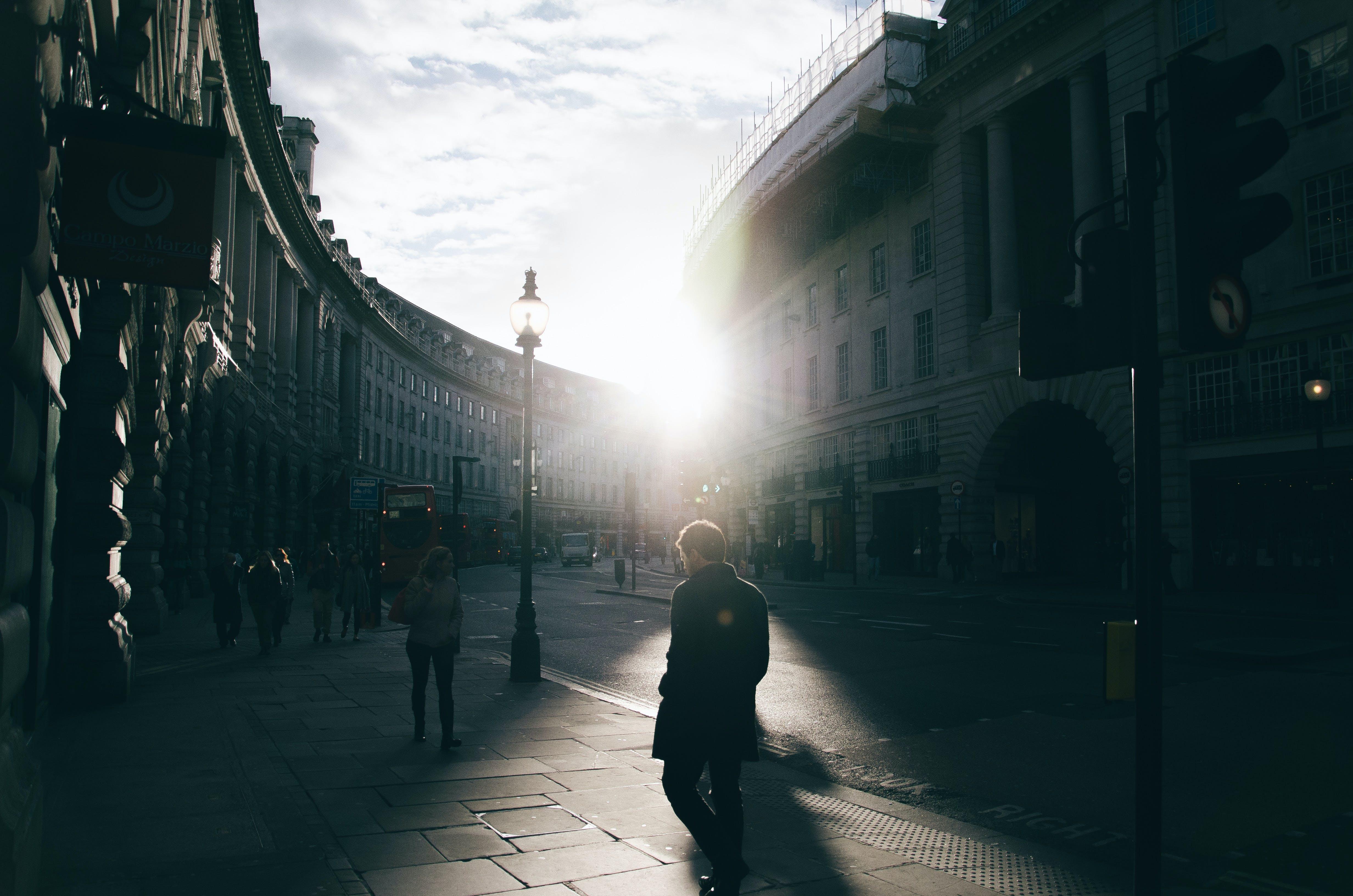 city, light, people