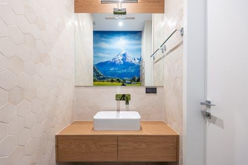 White sink in modern bathroom