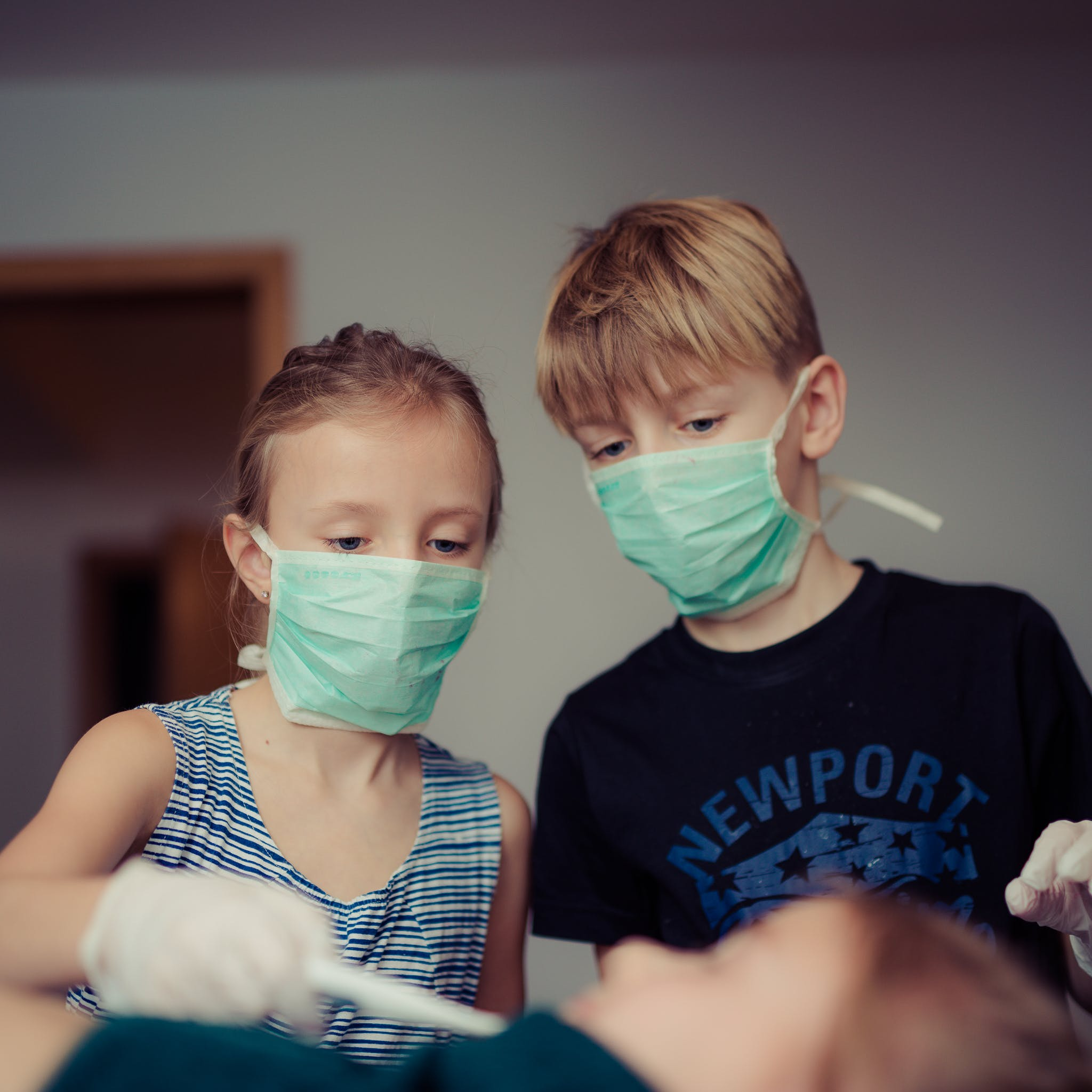 Two Children Wearing Surgical Masks