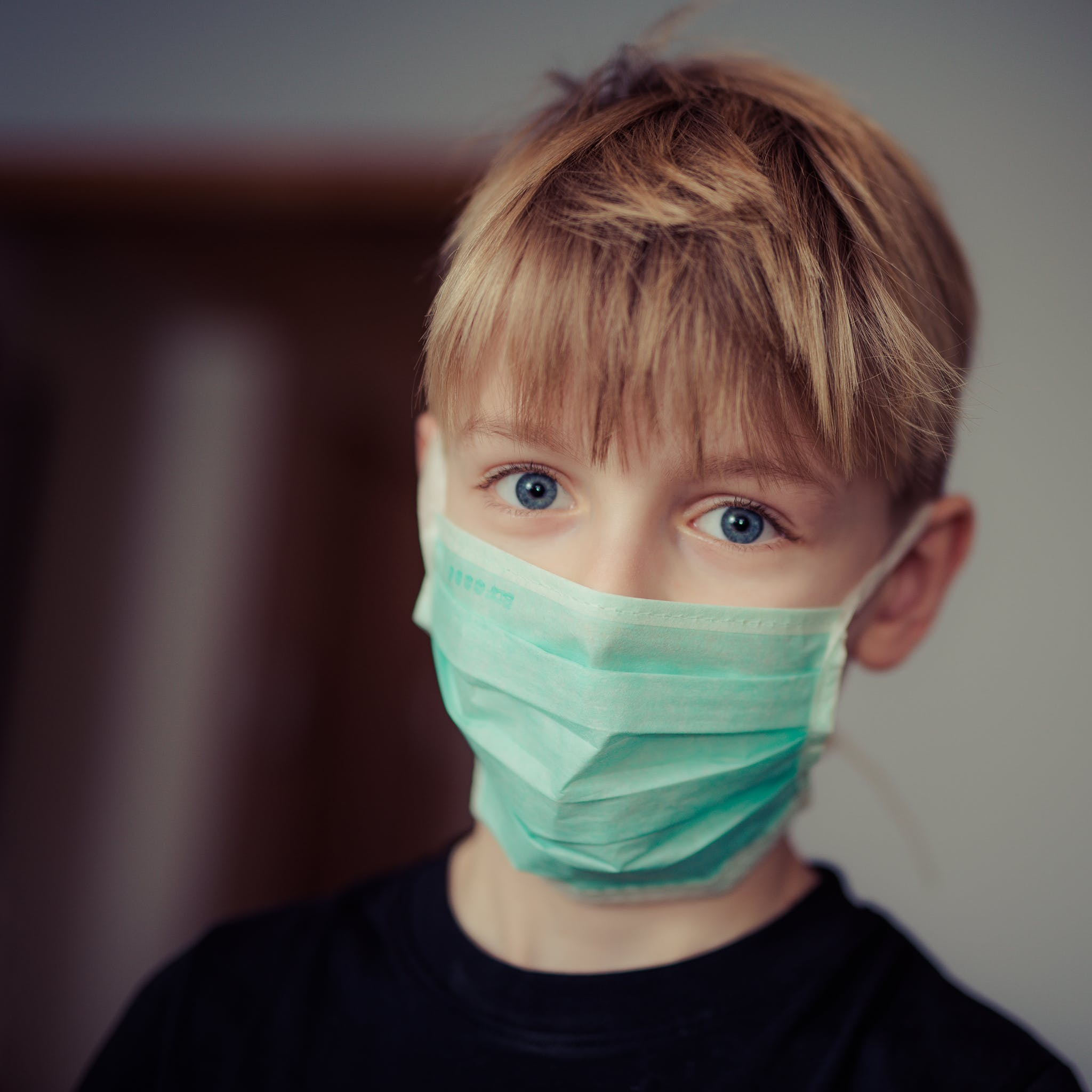 Boy Wearing Surgical Mask