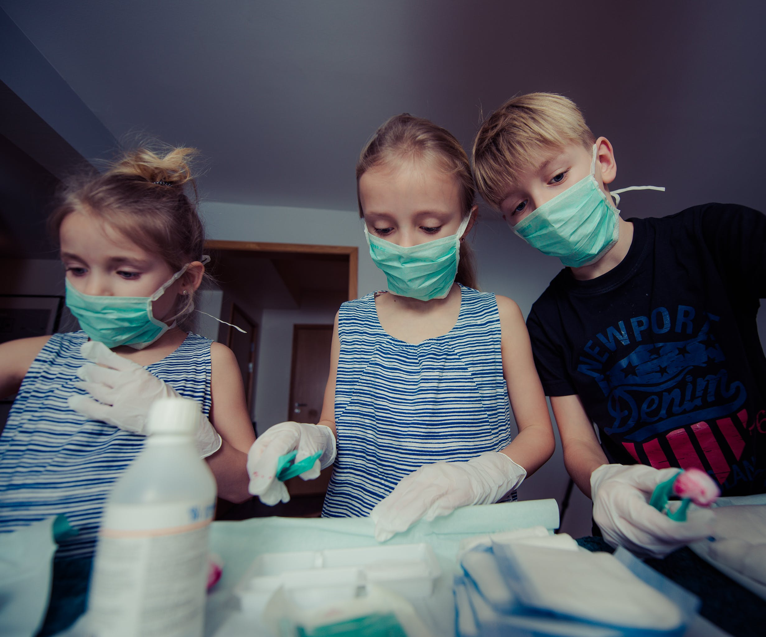 Three Children Wearing Face Masks