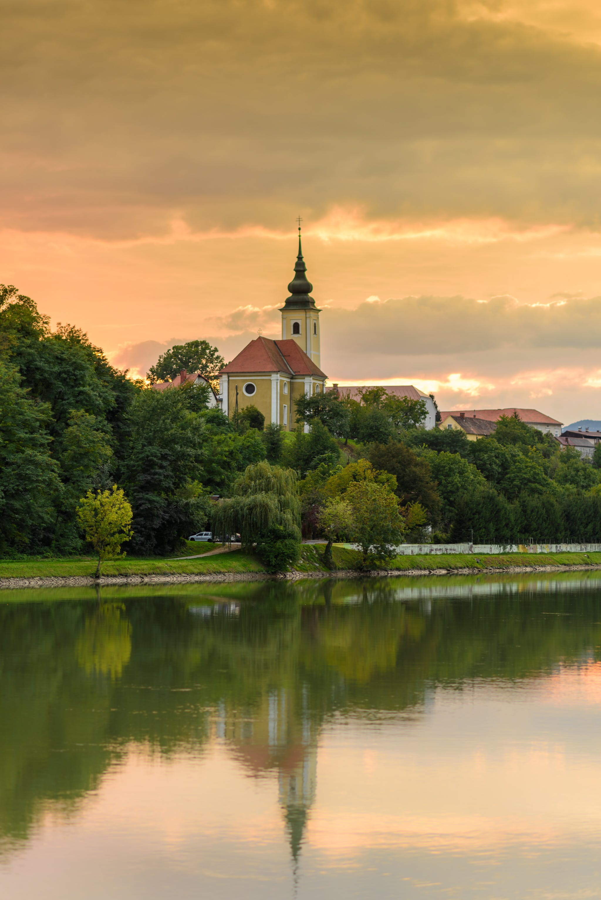 Free stock photo of church, colors, maribor, river