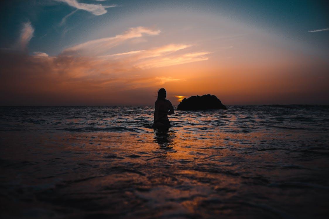 вода, восход, женщина