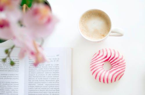 Free stock photo of coffee, donut, flower, literature
