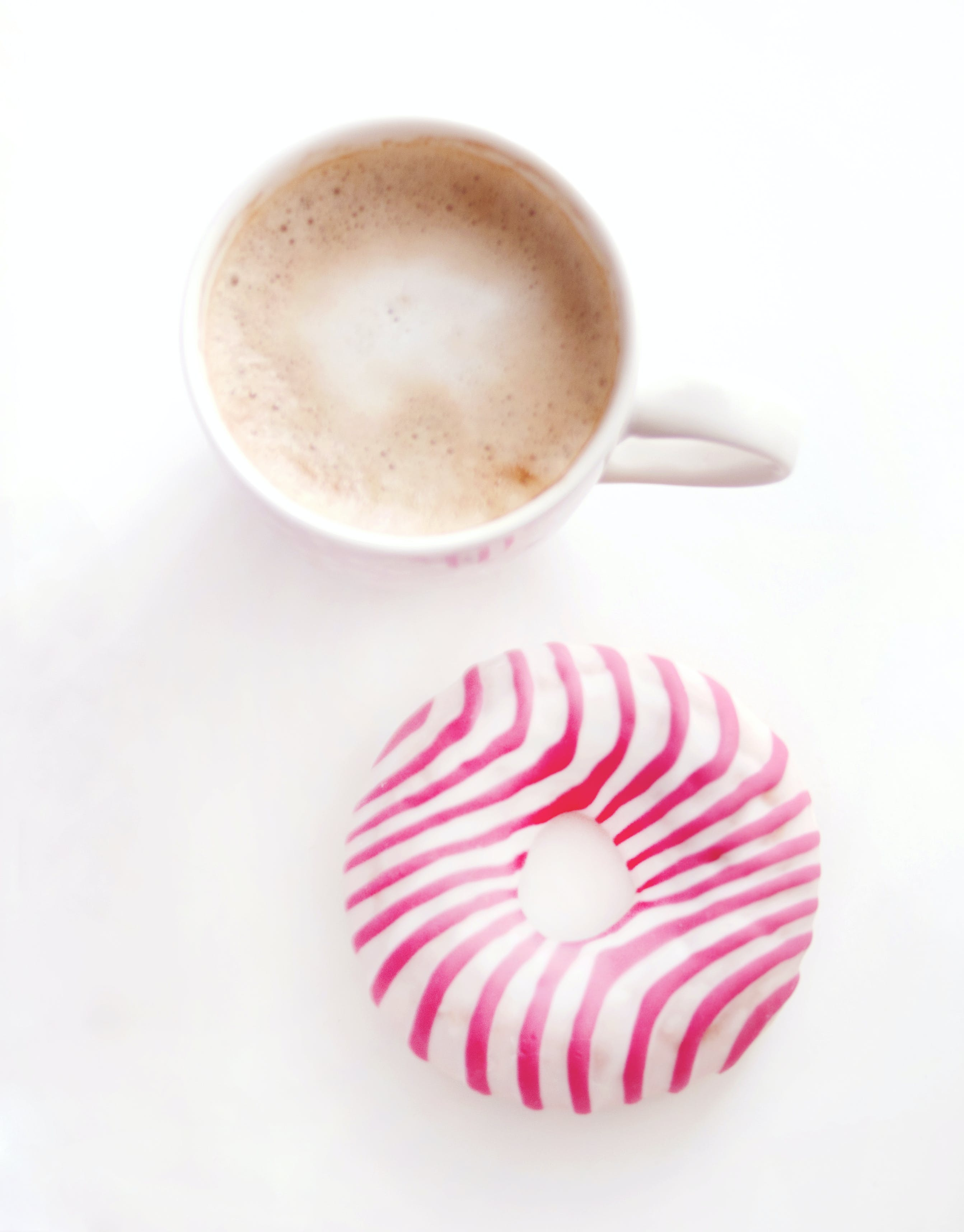 Free stock photo of coffee, cup, donut, pink
