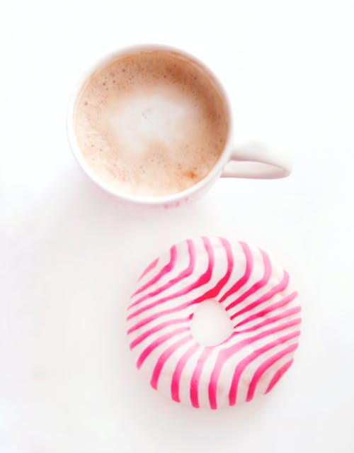 of coffee, cup, donut, pink