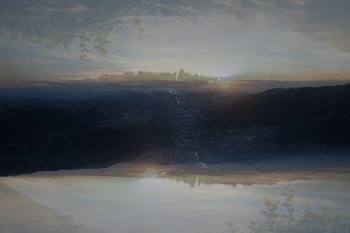 Free stock photo of double exposure, lake, mountains