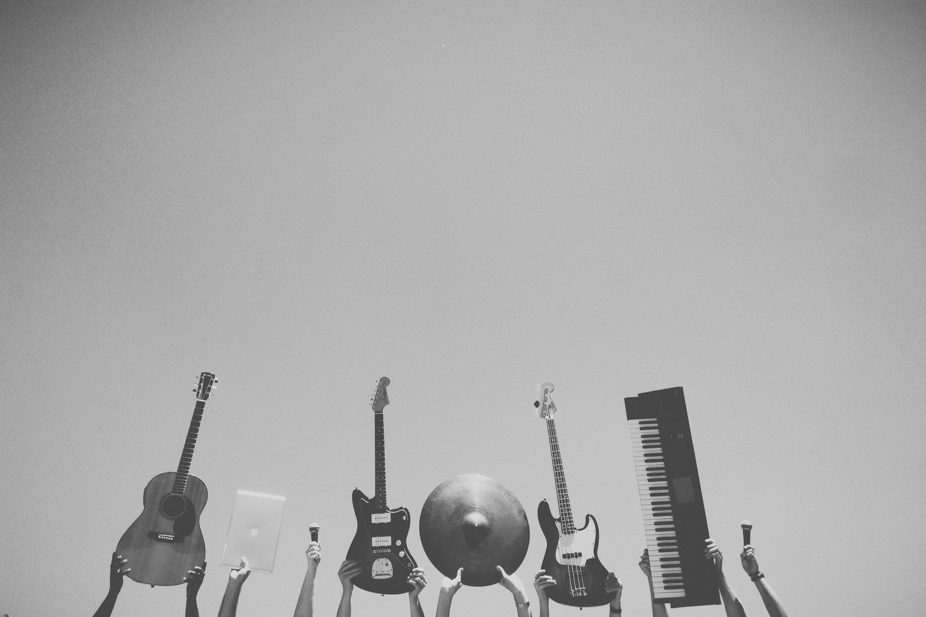Free stock photo of black-and-white, music, piano, rock