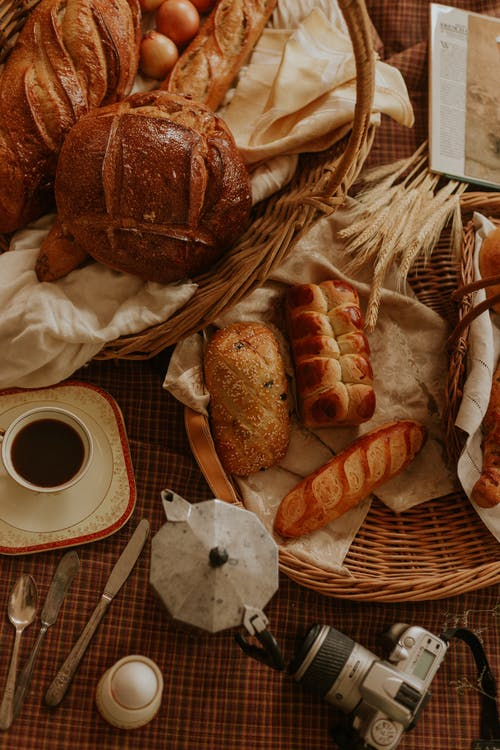Bread on Brown Woven Basket