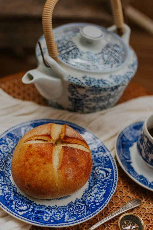 Bread on Blue and White Floral Ceramic Plate