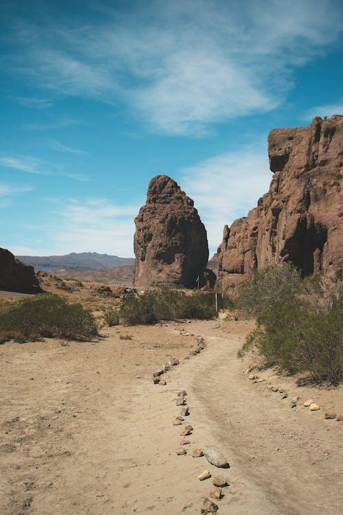 Brown Rock Formation Near Green Grass