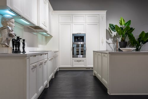 Contemporary stylish kitchen with white furniture