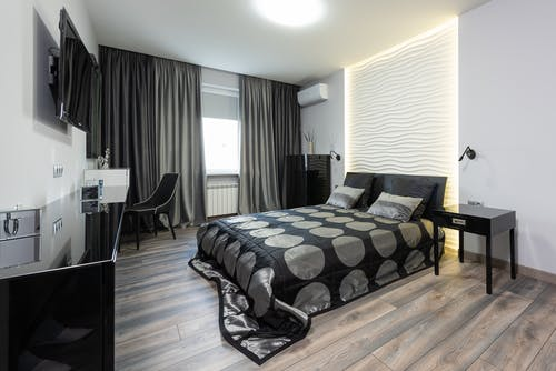 Bedroom interior in white and black