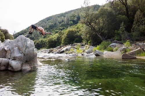 Foto profissional grátis de água, árvores, homem, pedras