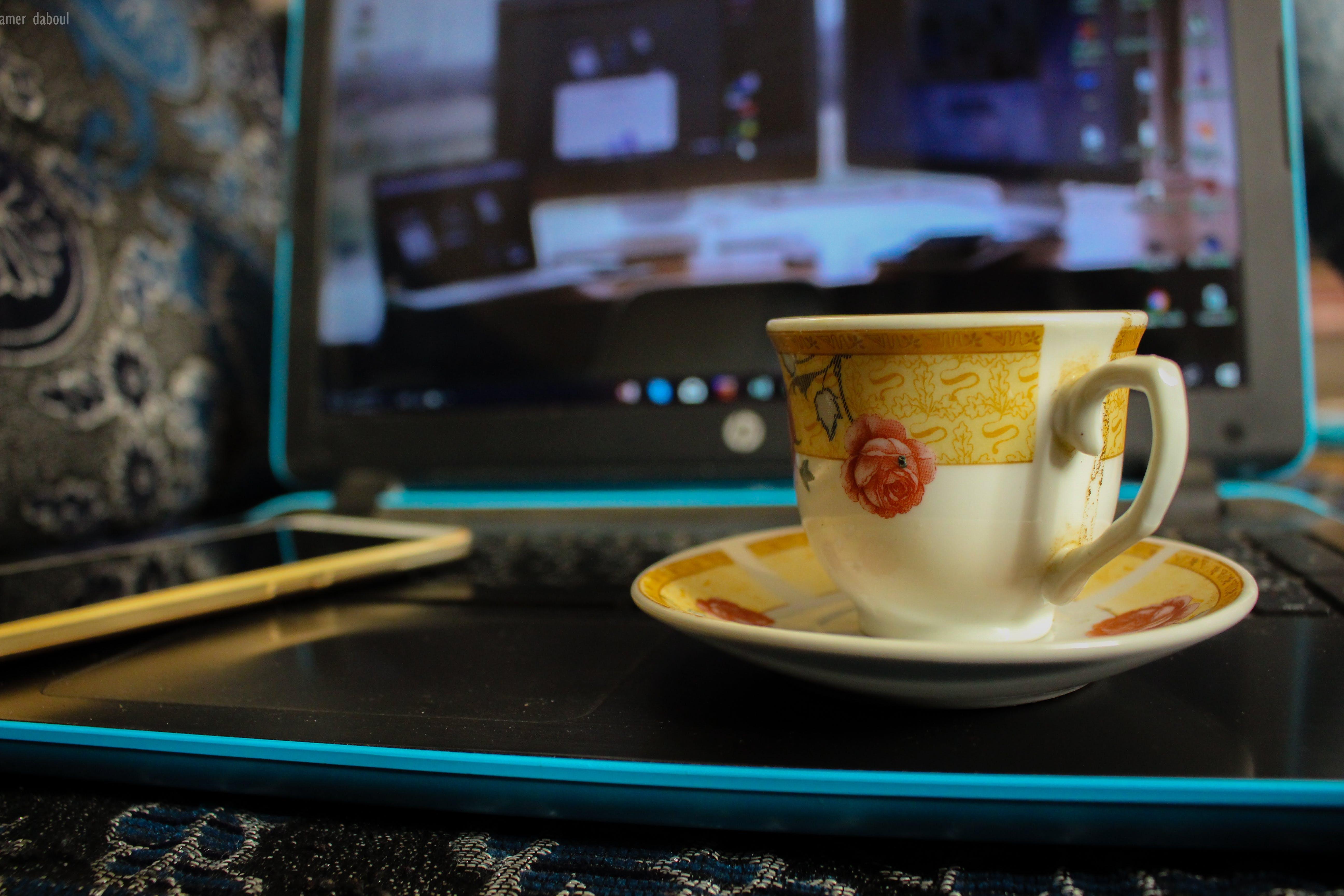 Free stock photo of Adobe Photoshop, android phone, blue, bluelaptop