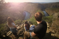people, hiking, cliff