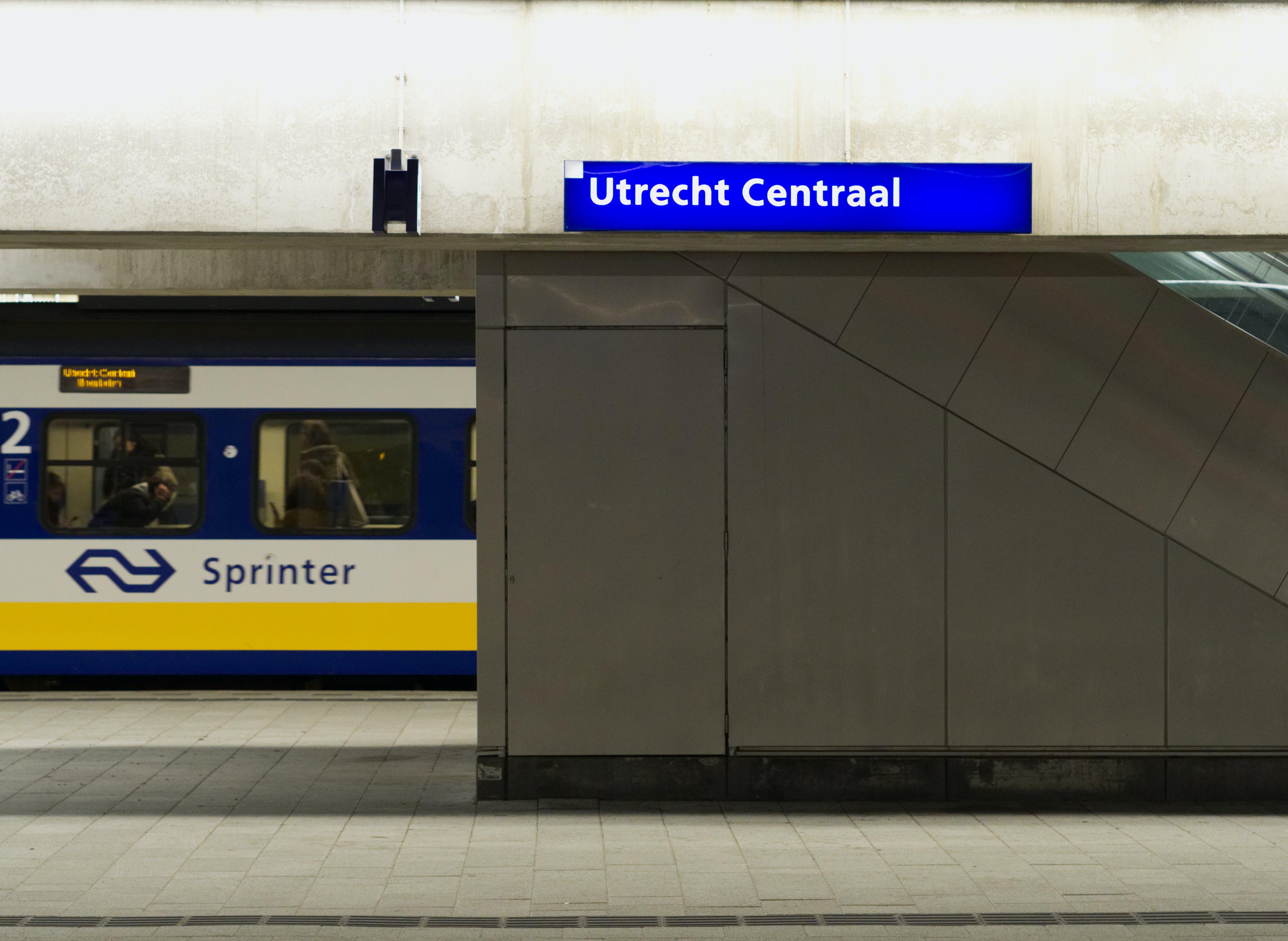 Free stock photo of blue, train, yellow, station