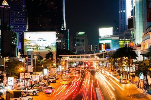 Kostnadsfri bild av bilar, byggnader, lampor, lång exponering