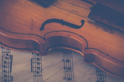 Základová fotografie zdarma na téma dřevo, housle, hudební nástroj, hudební noty