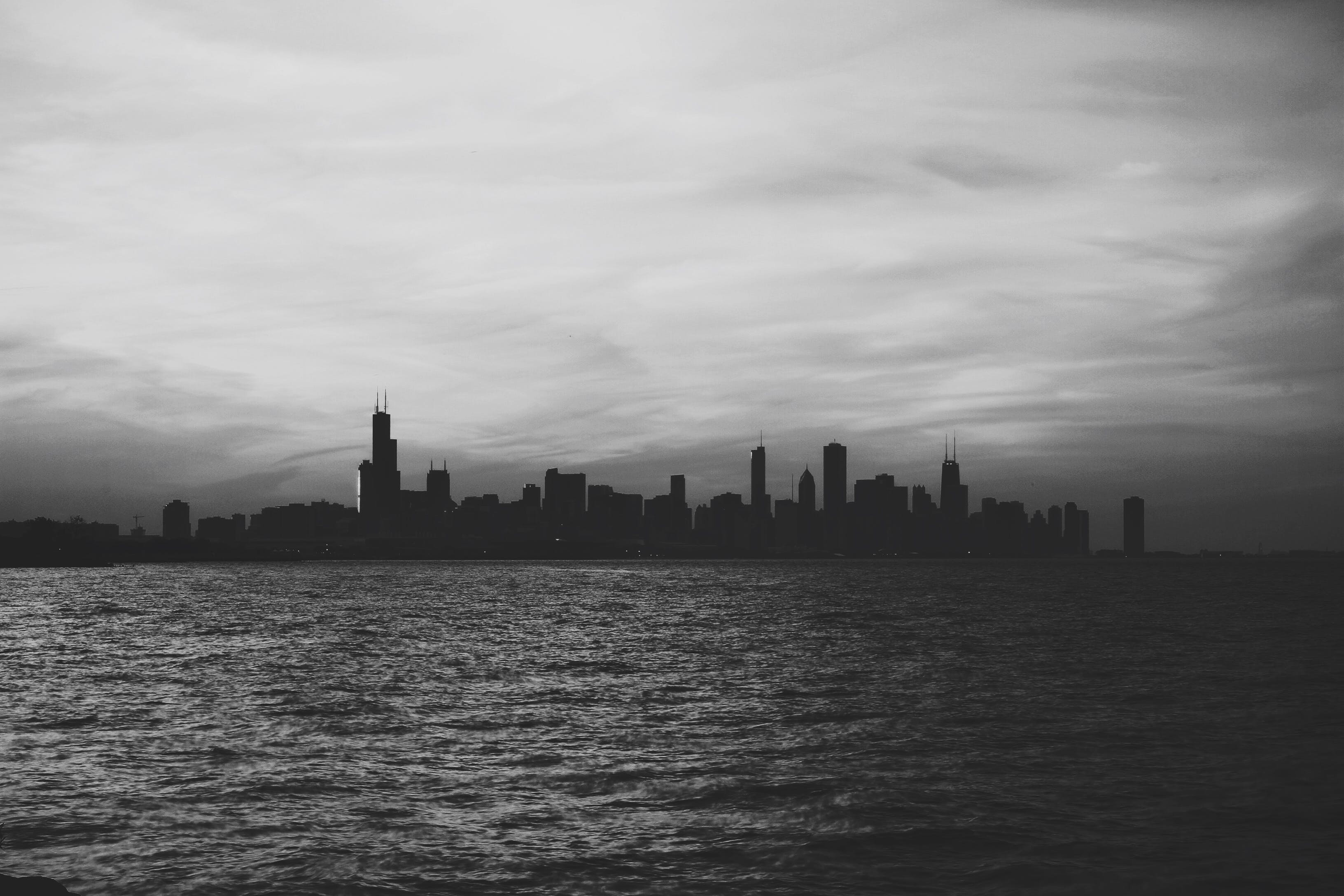 Free stock photo of sea, black-and-white, city, skyline