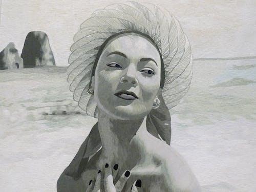 Immagine gratuita di arte, bianco e nero, donna