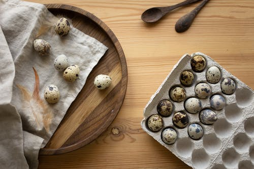 Close-Up Shot of Quail Eggs on an Egg Tray