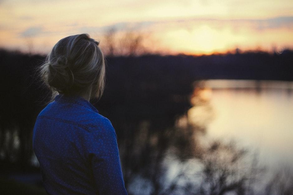 person, sunrise, sunset