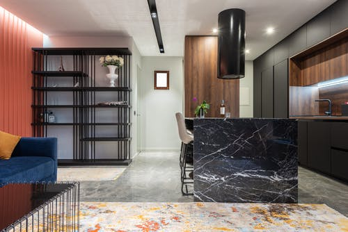 Modern kitchen and room interior in light house