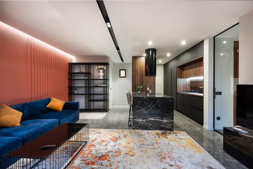 Modern living room and kitchen interior with sofa against tables on carpet with abstract ornament in light house