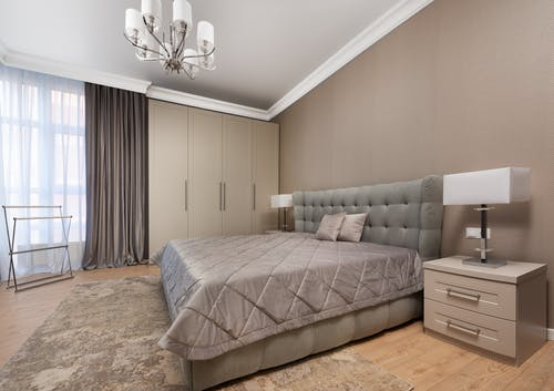 Creative design of bedroom with furniture at home
