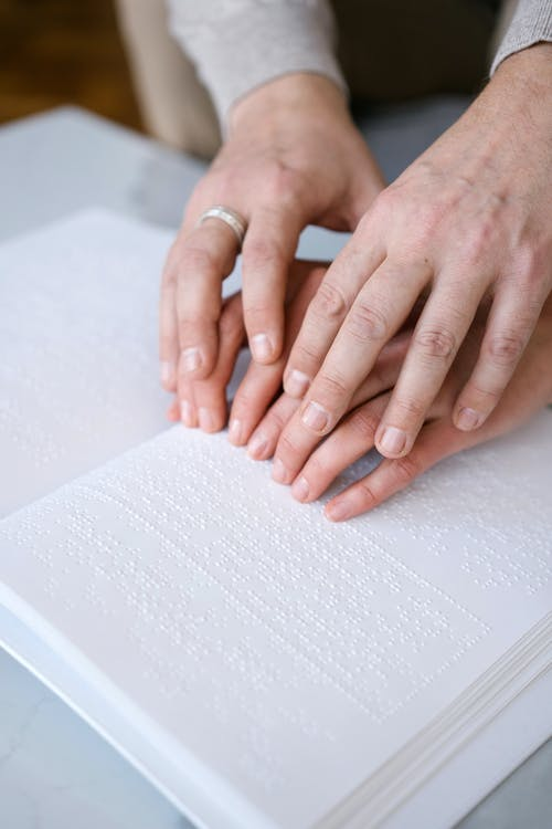 Persons Hand on White Paper