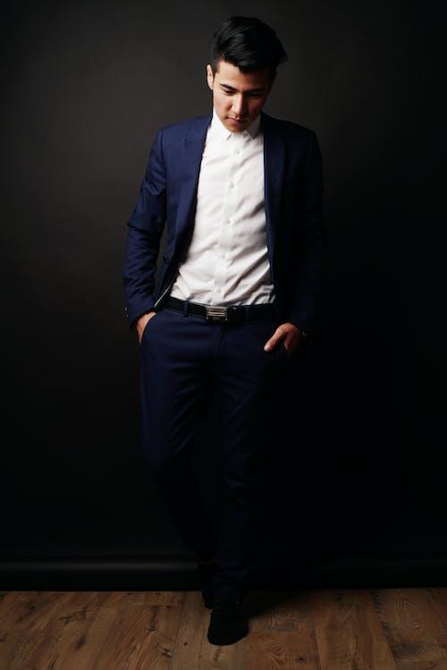 Man in Blue Suit Jacket and Black Dress Pants