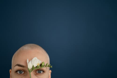 Crop bald woman touching face with tender flower