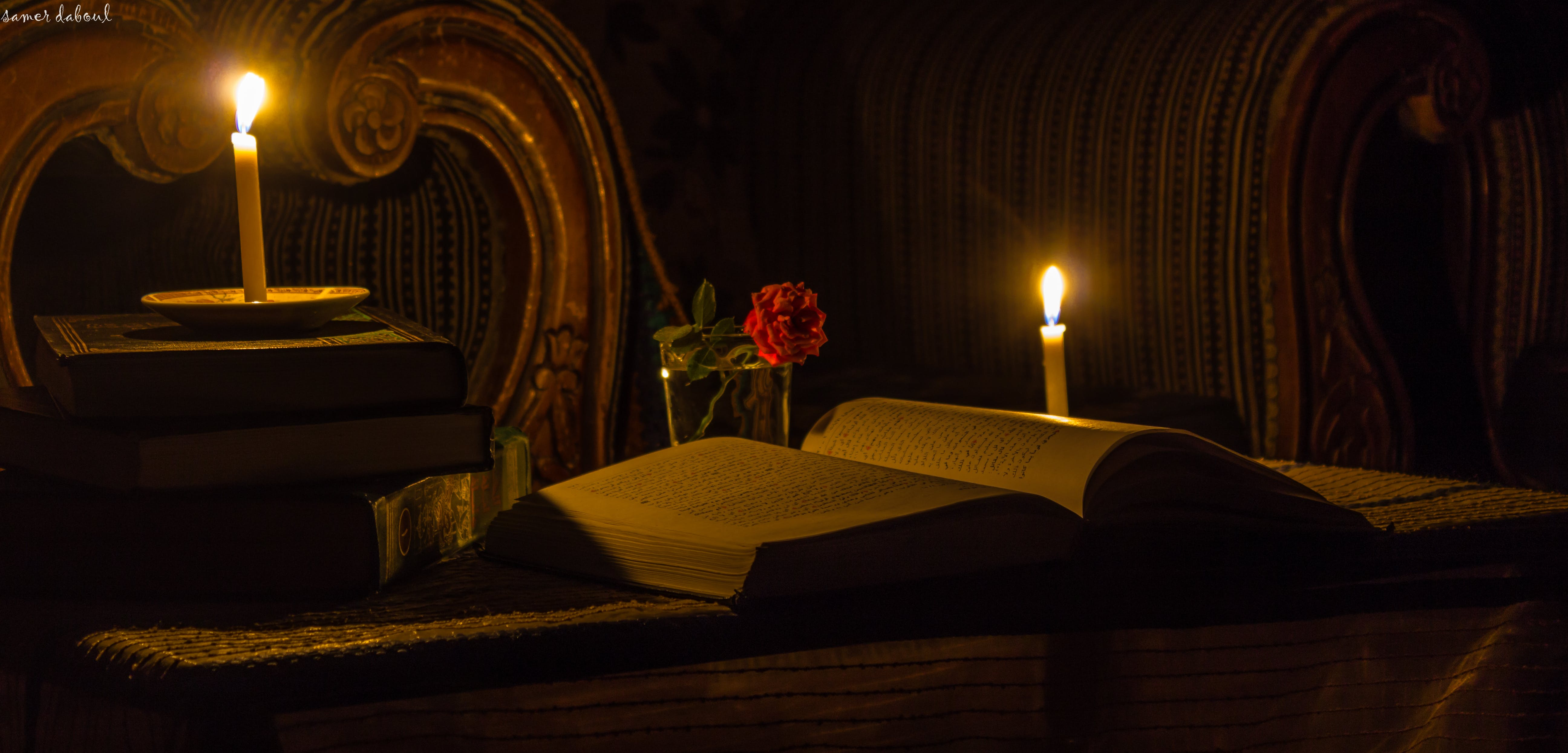 Free stock photo of a candle, book, calm, canon