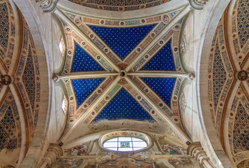 Blue and Gold Floral Ceiling