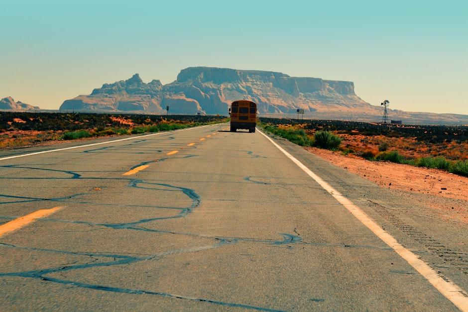 asphalt, bus, desert