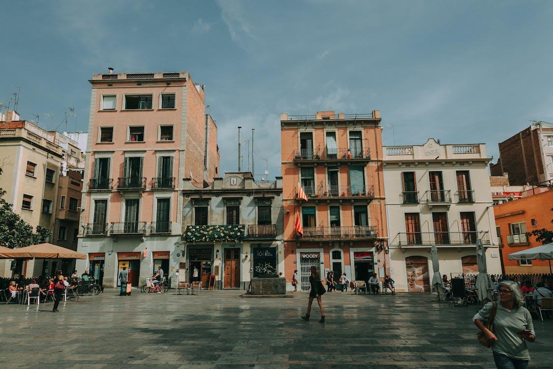 architettura, case, centro città