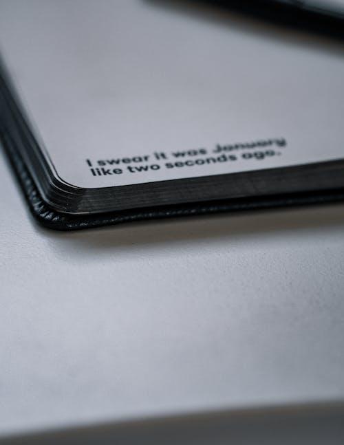 คลังภาพถ่ายฟรี ของ บันทึก, สมุดบันทึกสีดำ, หน้าสมุดบันทึก
