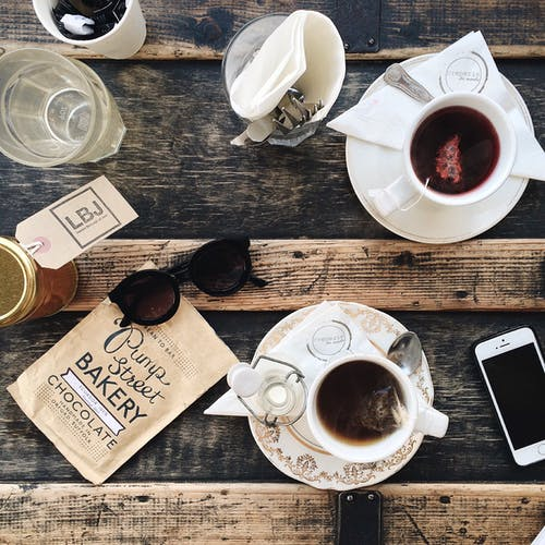 Top View of Tea on Wooden Table
