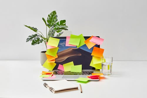 Close-Up Shot of a Laptop with Sticky Notes beside a Plant and a Glass of Water