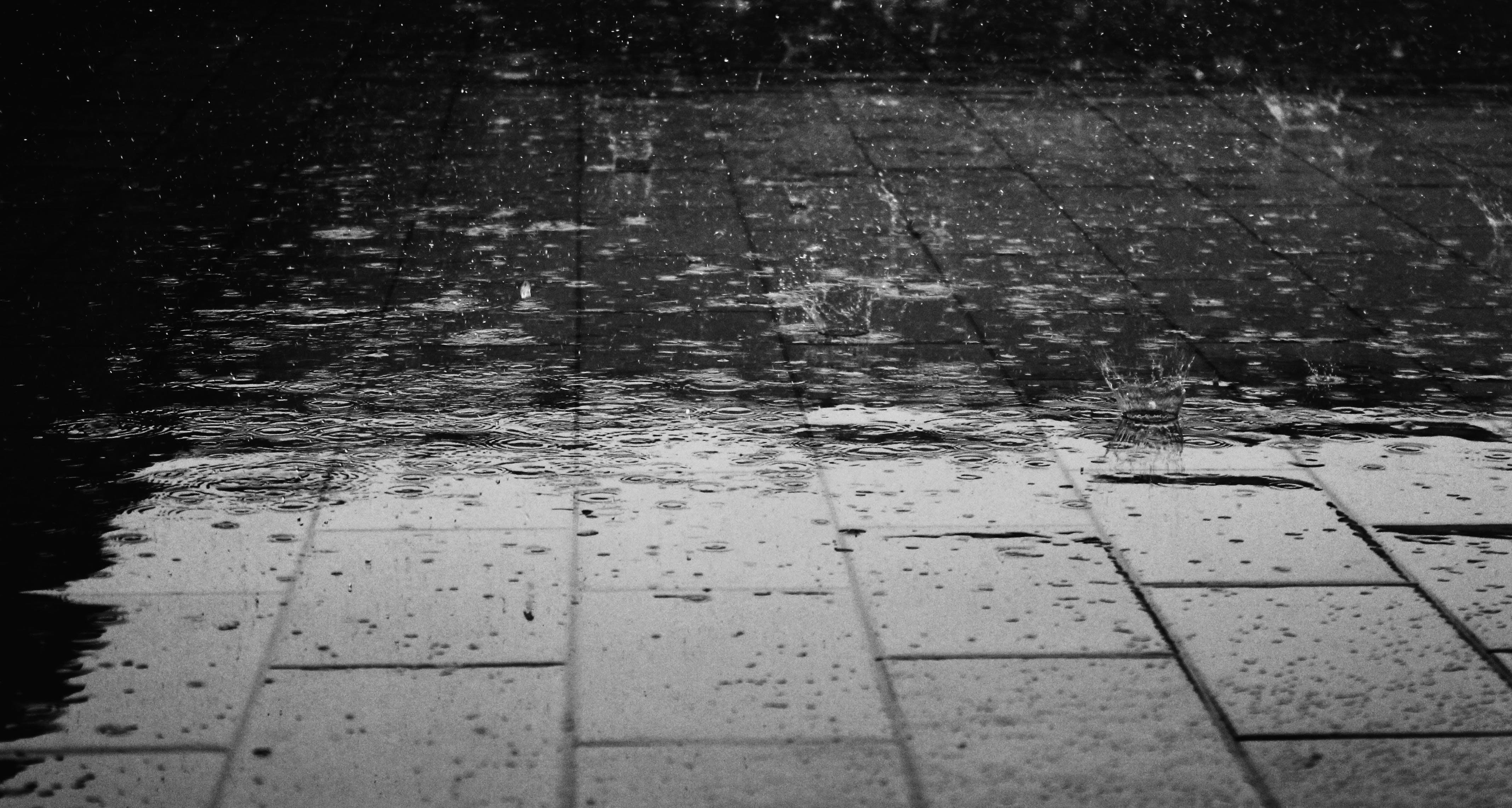 Greyscale Photo of Rain Drops