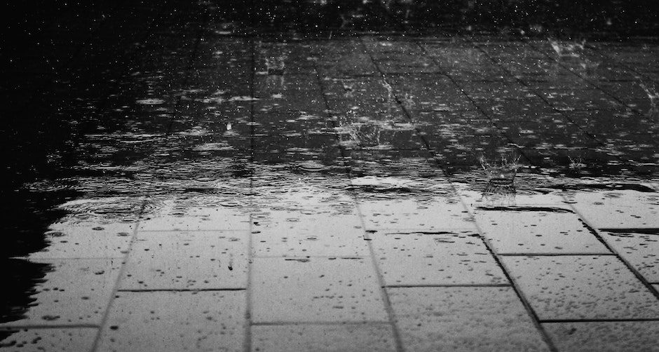 Greyscale Photo of Rain Drops