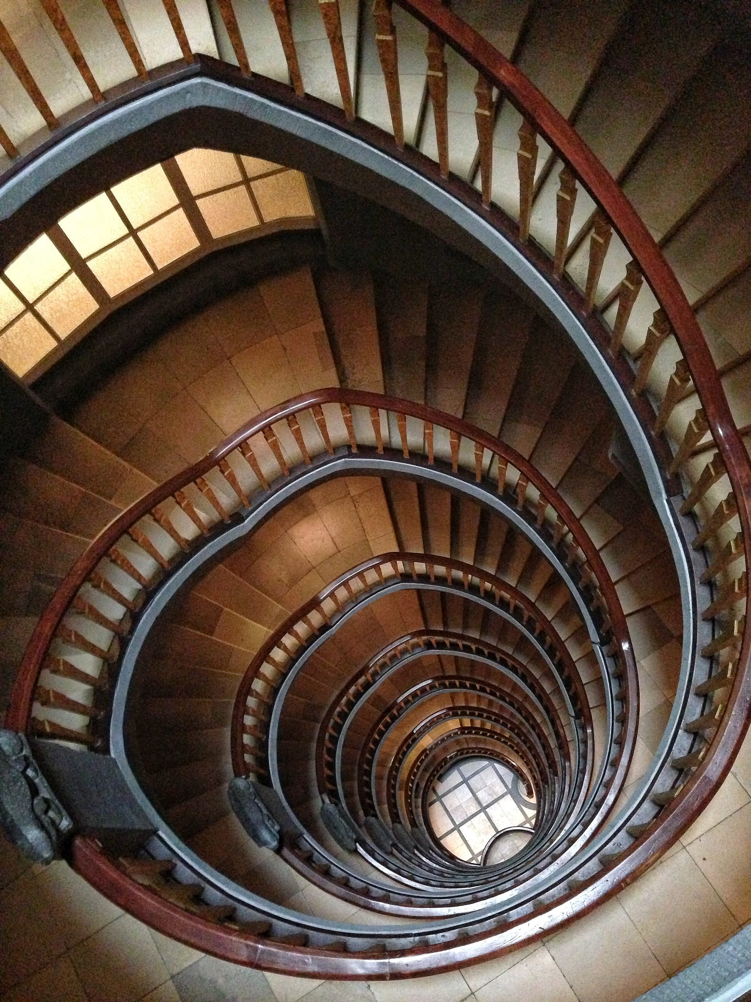 Brown Spiral Stairs