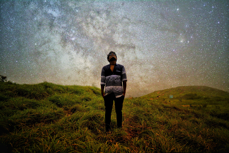 Free stock photo of Doubleexposure, hills, night, stars