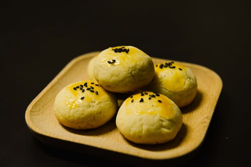 Five White Round Pastries